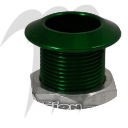 Boulont de remorquage en aluminium (vert) usiné par Blowsion